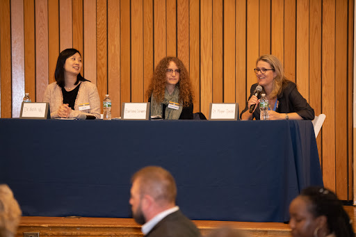 At Housing Families' Breaking Barriers Breakfast, Dr. Ann Wu, Housing Families' Barbara Schwartz and Dr. Megan Sandel discuss the impact of homelessness on children's health. (Photos courtesy of Paul Hammersley)