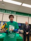 During the hour-long Celtics visit, student Ben Miller explained how he and his classmates made this robotics device.
