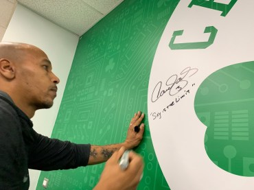 "Former Celtics player Dana Barros wrote ""Sky is the limit."""