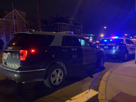 State Police canines searched for the three suspects in backyards for approximately two hours after all alleged robbery near 52 Crest Ave. on Saturday night, according to MBTA Transit Police.