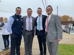From left to right: Ward 4 Councillor Pat Keefe, State Senator Joe Boncore (D-Winthrop), Mayor Brian Arrigo and Councillor-at-Large Tony Zambuto were at the polls early on Tuesday.
