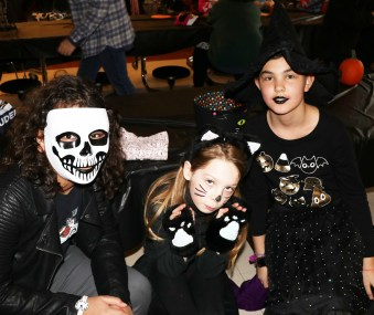 Lots of scary characters at the party, Sophia Edmunds, Caeleigh Vaughan and Vanessa Edmunds.