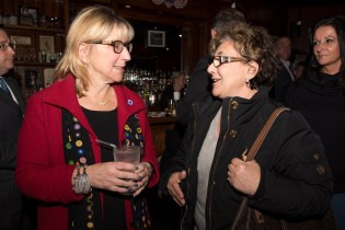 Senate President Karen Spilka and Councillor Rosa DiFlorio mingled at Stewarts on Tuesday night.