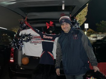 Ward 4 Councillor Pat Keefe's wife, Jen, decked out his trunk in Pop Warner gear for Fright Night on Sunday at Rumney Marsh Academy.