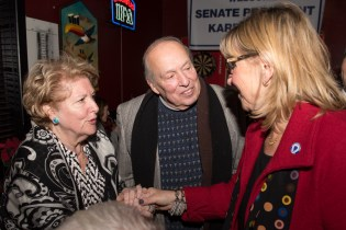 Marie and Sal DiDomenico socialized with Senate President Karen Spilka at Stewarts on Tuesday.
