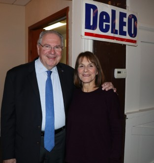 The host and hostess for the annual comedy night at the Winthrop Yacht Club, Speaker of the House Bob DeLeo and Vickie Mucci.