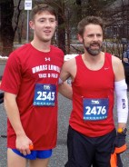 Winner Andrew Fossa of Peabody (left) with second-place finisher Daniel Kelley. Fossa finished with a time of 16 minutes, 30 seconds, and Kelley finished with a time of 16 minutes, 48 seconds.