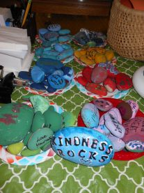 """THE BEST PRESENT OF ALL: Everyone loves a little kindness. So, Belmonte Middle School students who are members of the """"YES Club"""" – which stands for """"Youth Empowering Saugus"""" – recently created """"Belmonte Kindness Rocks"""" as their first project, just in time for Christmas. The club, which includes nine members joined by school officials and their principal, met with local media on Wednesday (Dec. 5) to talk about several projects they engaged in to improve their school and future education. See story inside. (Saugus Advocate Photo by Mark E. Vogler)"""