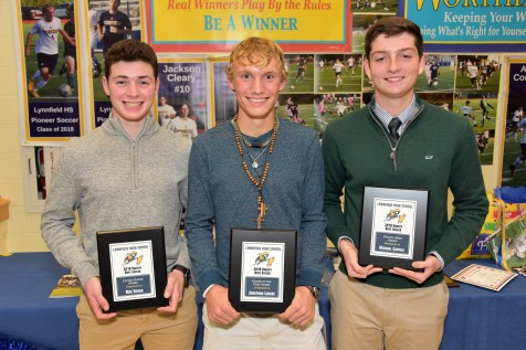 2018 LHS Varsity Boys Soccer Clutch Player award winner Max Sieger, 2018 LHS Varsity Boys Soccer Player of the Year award winner Jonathan Luders, and 2018 LHS Varsity Boys Soccer Unsung Hero award winner Michael Gentile