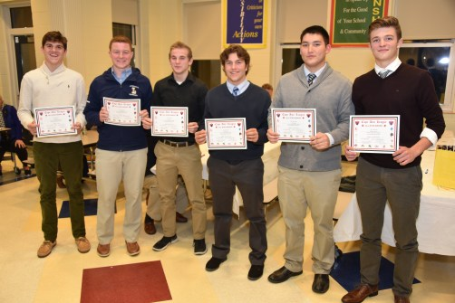 CAL 2018 FIRST TEAM ALL-STAR FOOTBALL: Jack Ford, Liam Farrell, John Lee, Jaret Simpson, Cole Moretti, and Clayton Marengi.
