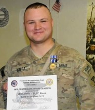 A COMMENDATION FOR DUTY IN AFGHANISTAN: A 2011 photo of Doncristino J. Racca, showing a commendation he received for his service with the U.S. Army National Guard in Afghanistan. (Courtesy Photo to The Saugus Advocate)