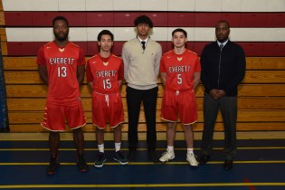 CAPTAINS: Shown ready to lead the EHS Boys Crimson Tide Basketball are Captains Nate Mehu, Amir Dottin, Erick Thompson, Kayo Dias and Head Coach Stanley Chamblain