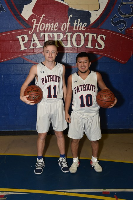 CAPTAINS: Shown ready to lead the RHS Boys Patriots Basketball are Captains Scott Montefusco and Sebastian Vanegas
