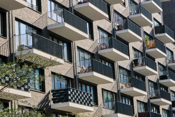 Detail of the facade of a modern apartment building