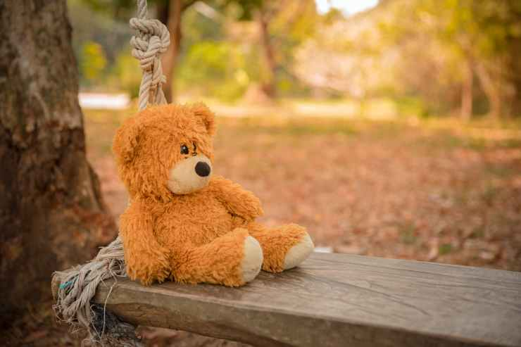 close up photography of teddy bear on wooden swing
