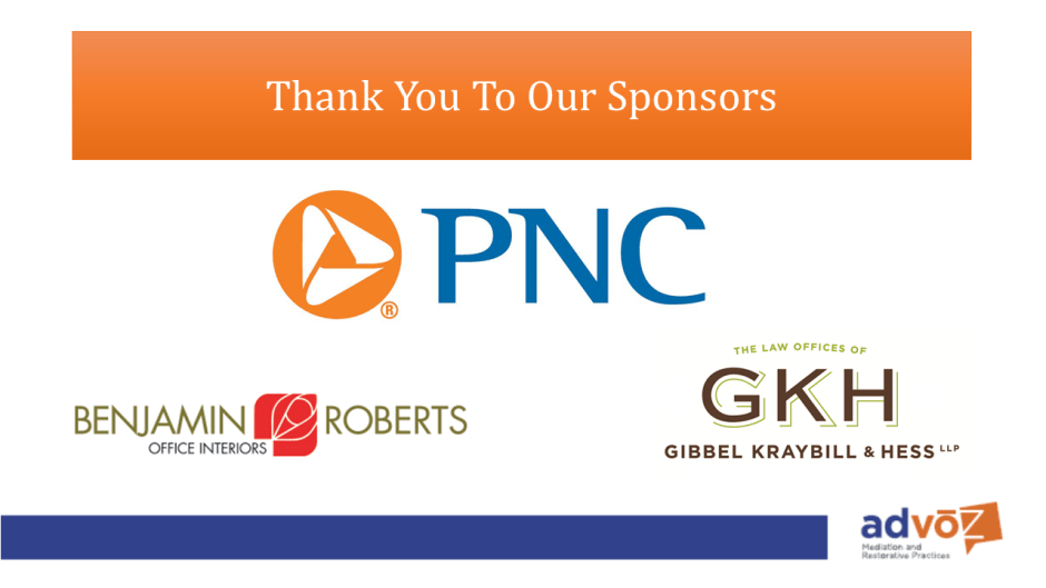 Thank you PNC Bank, our Dinner Dialogue Sponsor and Community Sponsors Benjamin Roberts and Gibbel Kraybill and Hess