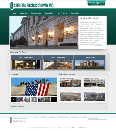 Adventure Web Productions has recently launched Singleton Electric Company's new website!