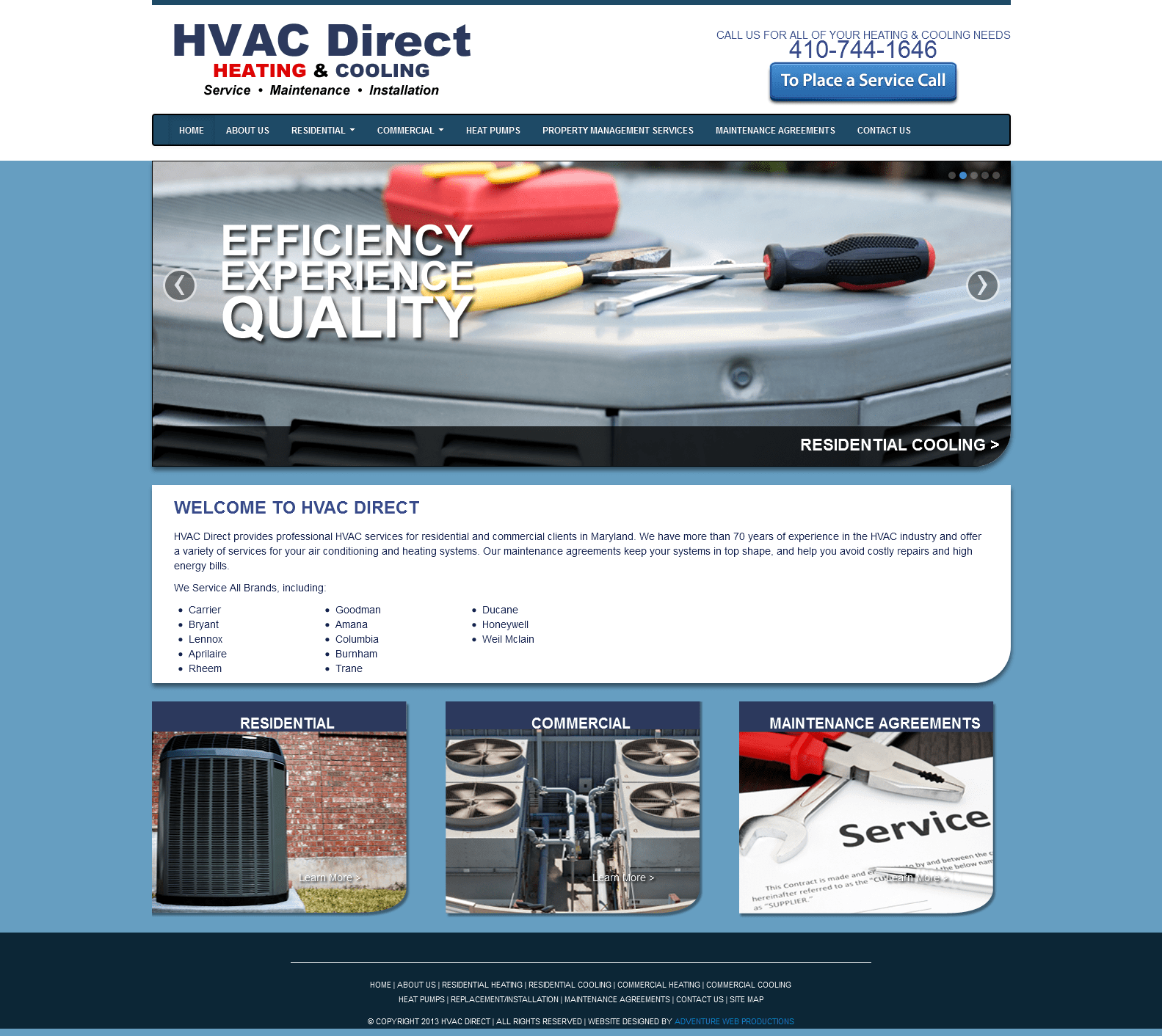 Adventure Web Productions Launches New Site: HVAC Direct
