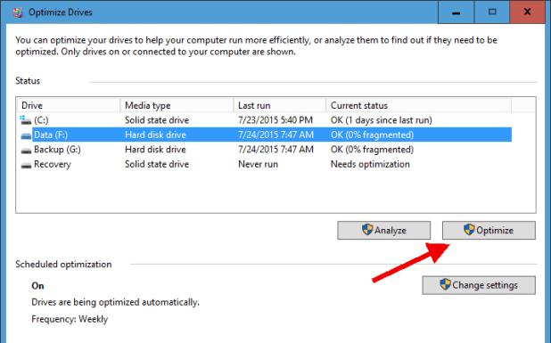 Optimization drives menu at Windows