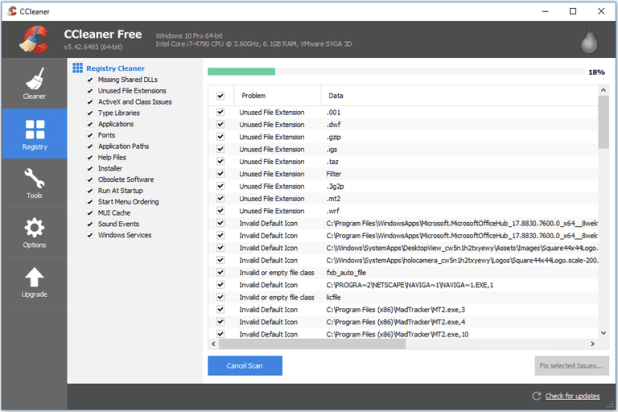 Screenshot of CCleaner program