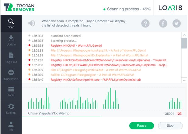 Loaris Trojan Remover Scanning