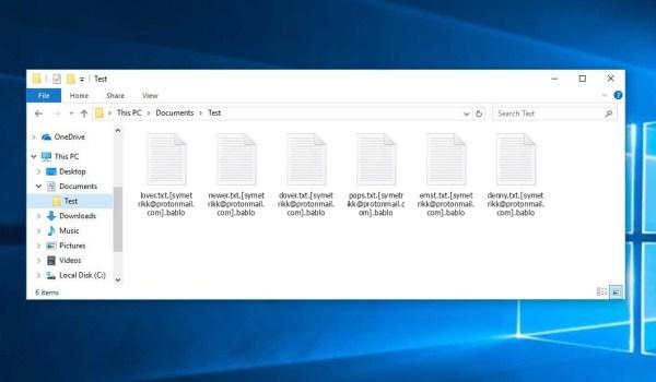 Bablo Ransomware - encrypt files with .[symetrikk@protonmail.com].bablo extension