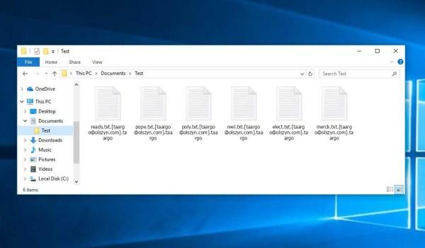 Taargo Ransomware - encrypt files with .[taargo@olszyn.com].taargo extension