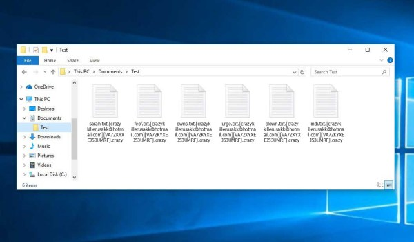 Crazy Ransomware - encrypt files with .[crazykillerusakk@hotmail.com][VA7ZKYXEJ53UMRF].crazy extension