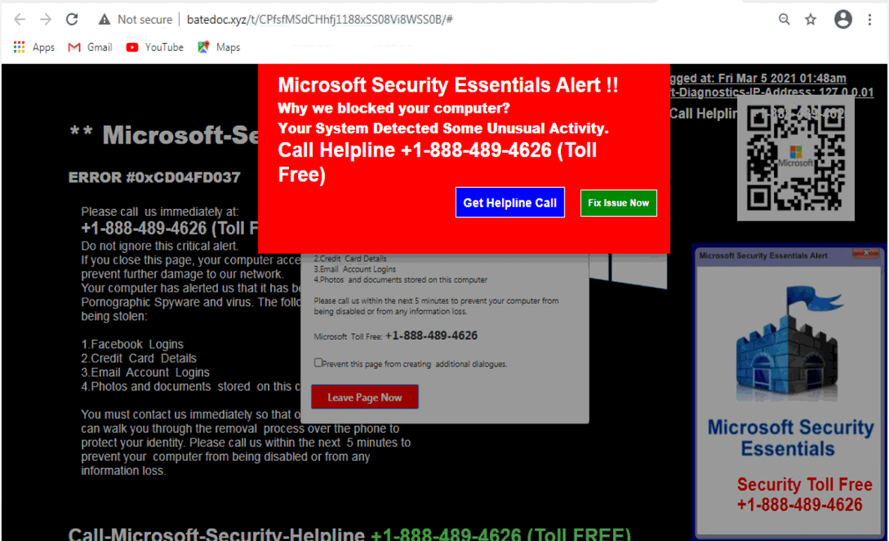 What is Microsoft Security Essentials Alert?