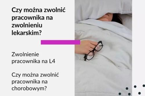 Tekst na grafice: Adwokat Kobiet. Czy można zwolnić pracownika na zwolnieniu lekarskim? Zwolnienie pracownika na L4. Czy można zwolnić pracownika na chorobowym? Na zdjęciu osoba leżąca w łóżku, pod kołdrą.