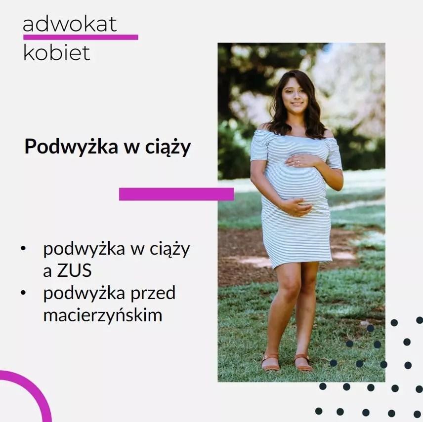 Tekst: Adwokat Kobiet. Podwyżka w ciąży. Podwyżka w ciąży a ZUS. Podwyżka przed macierzyńskim. Na zdjęciu na grafice kobieta w ciąży.