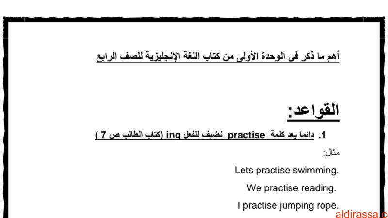 أهم قواعد الوحدة الأولى لغة إنجليزية الفصل الاول الصف الرابع