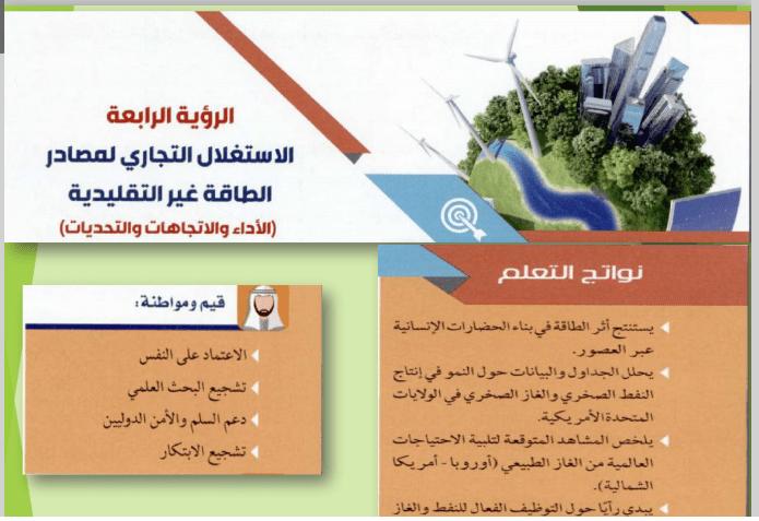 الرؤية الرابعة (الاستغلال التجاري لمصادر الطاقة غير التقليدية) اجتماعيات للصف العاشر الفصل الثالث