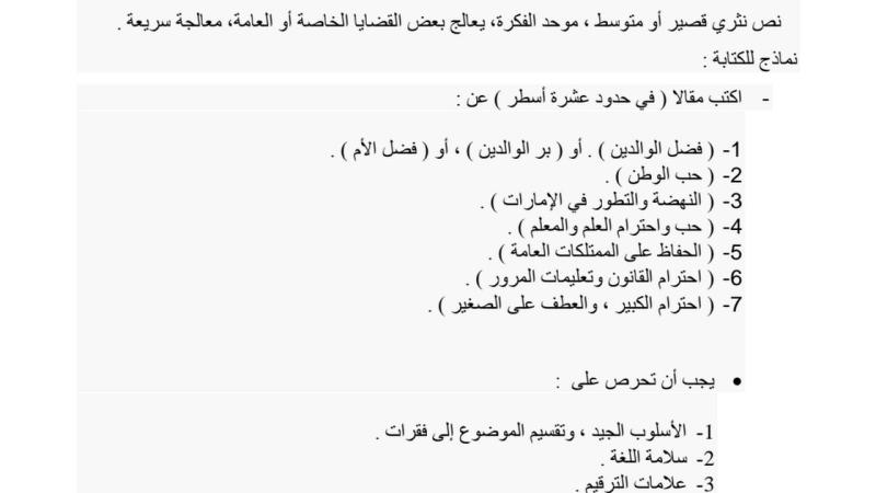 اللغة العربية تعبير كتابي (المقال) للصف السادس