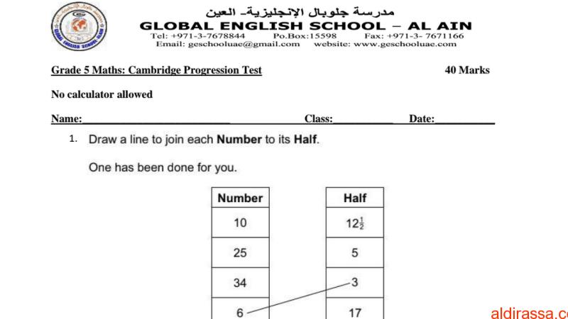 امتحان تجريبي رياضيات الصف الخامس منهج مجلس