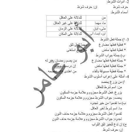 ملخص لدرس أدوات الشرط الجازمة لغة عربية الصف الثامن الفصل الثاني