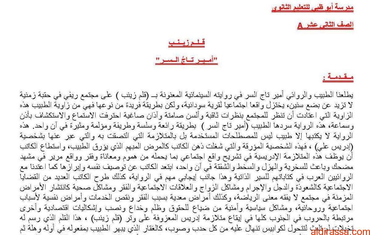 تلخيص رواية قلم زينب لغة عربية ثاني عشر
