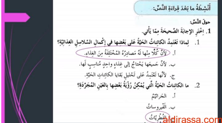 الحل لدرس أصدقاء وأعداء لا نراهم لغة عربية الصف السادس الفصل الثالث