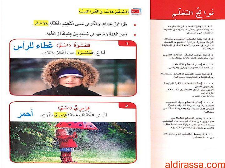 الحل لدرس معطفي القرمزي لغة عربية الصف الرابع الفصل الثاني