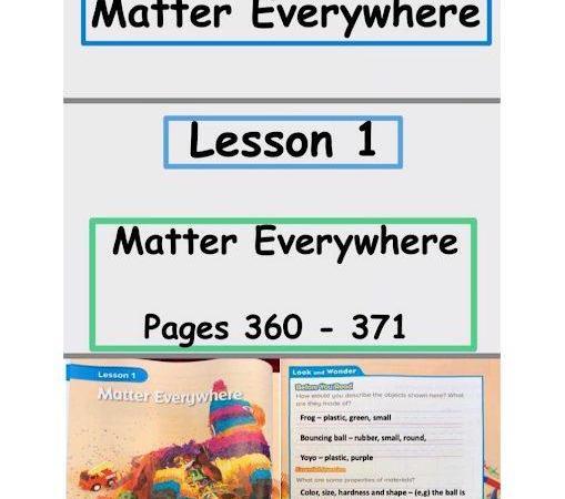 حل وحدة المادة في كل مكان علوم منهج إنجليزي الصف الاول الفصل الثالث