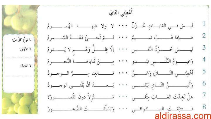 درس قصيدة أعطني الناي مع الاجابات لغة عربية الصف السابع