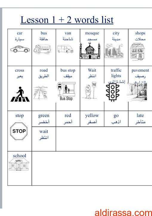 كلمات الوحدة التاسعة لغة إنجليزية الصف الثانى الفصل الثالث
