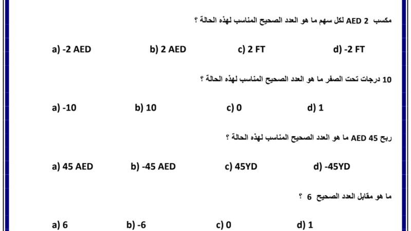 مراجعة للوحدة الخامسة لمادة الرياضيات الصف السادس الفصل الثاني