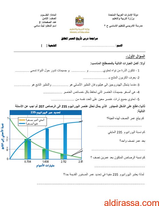مراجعة درس تأريخ العمر المطلق يتبعه الحل علوم الصف الثامن الفصل الثالث