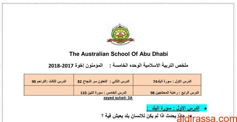 ملخص درس سورة البلد والتعاون سر النجاح تربية إسلامية الصف الثالث الفصل الثالث