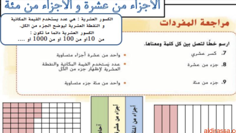 ملزمة الوحدة العاشرة الكسور الاعتيادية والكسور العشرية رياضيات للصف الرابع