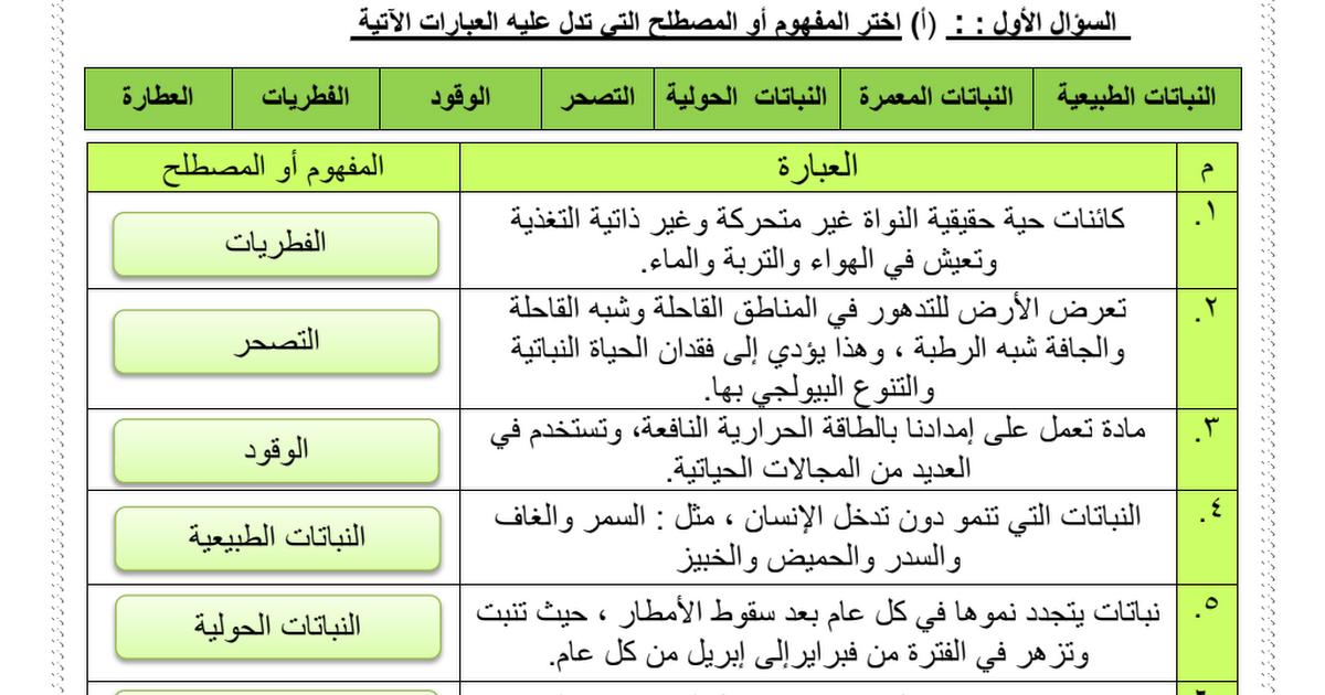 ورقة عمل درس النباتات حولية في دولة الإمارات مع الإجابات اجتماعيات للصف السادس الفصل الثالث