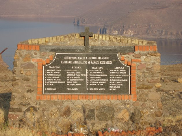 A memorial near Katse Dam for LDF soldiers killed there in 1998