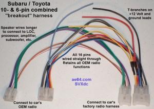 10 and 6pin bined wiring Harness for Subaru Impreza