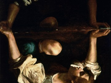 """Caravaggio, """"Narcissus at the Source"""" (1597‒1599) rotated 180 degrees, source: public domain, , National Gallery of Ancient Art, Rome, Italy"""